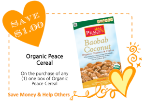 Organic Peace Cereal LoveWarmth CommonKindness Coupon